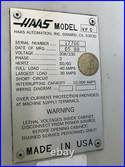1999 Haas Vf-0 Cnc 3-axis Vertical Machining Center Chip Auger, 20 Hp, Rigid Tap