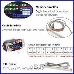 3Axis Digital Readout Linear Scale Kit 5µm DRO Display Glass Encoder for Milling