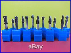 8mm head THK Tungsten Carbide Rotary Point Burr 12 pieces SET 6mm shaft tools
