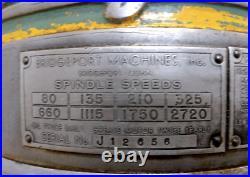 9 X 42 Bridgeport #j Vertical Milling Machine Ybm #11963