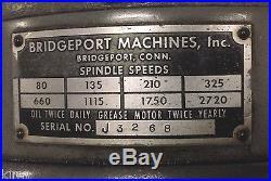 9x42 Table BRIDGEPORT ROUND RAM J HEAD MILLING MACHINE 15 pcs collets R8 1/8-1