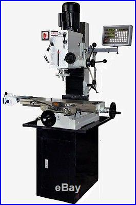 BOLTON TOOLS ZX45PD DRO POWER FEED MILLING MACHINE Stand and End Mill Chuck Inc