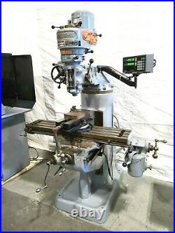 Bridgeport Milling Machine 1HP Sony DRO 6 Rotary Vise Chrome Ways Collets Feed