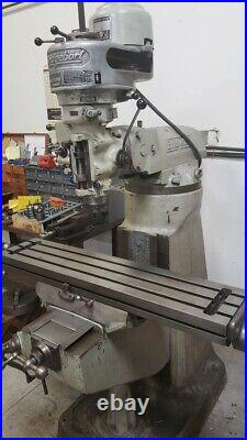 Bridgeport Milling Machine, 42 x 9 table, 1hp, R8 spindle, lube pump, manual mill