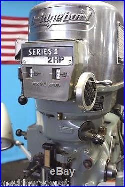Bridgeport Series 1 2hp vertical mill with DRO, 9 x 42 table And mill vise