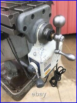 Bridgeport Vertical Milling Machine 1 HP Step Pulley 2 Axis DRO X Axis Feed