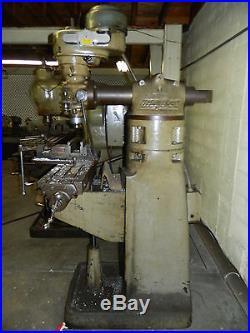 Bridgeport Vertical Milling Machine, 9 x 42 Table, Step Pulley Head, Used