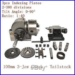"""CNC 4/"""" Semi Universal Indexing Dividing Spiral Head 100mm 3-Jaw Chuck Tailstock"""