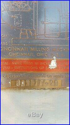 Cincinnati Horizontal Milling Machine N. 3 table 15x62