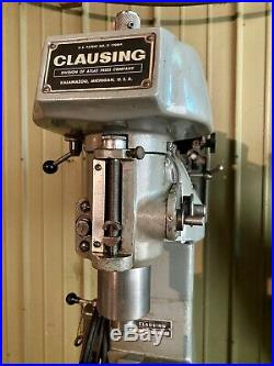 Clausing 8520 Vertical Milling Machine With Swivel Base Vise & Accessories
