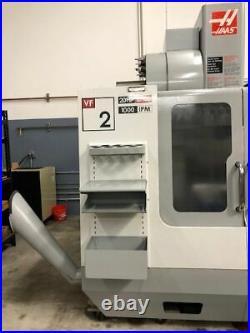 HAAS VF-2 CNC Vertical Mill, 4th Axis Wiring, 20 HP, 7500 RPM, Servo Coolant