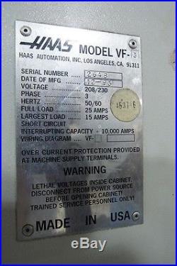 HAAS VF-3 CNC MILLING MACHINE HAAS VERTICAL MACHINING CENTER 40 X TRAVEL