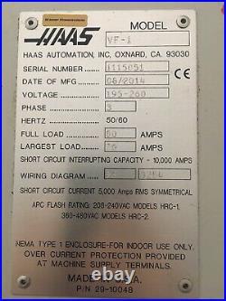 Haas VF1 Vertical Machining Center 2014 4th Axis