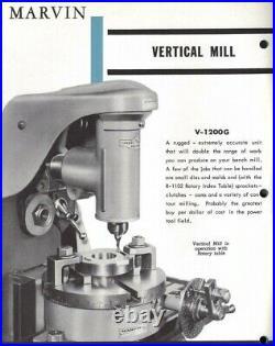 MARVIN vertical milling machine attachment ATLAS CRAFTSMAN horizontal head lathe