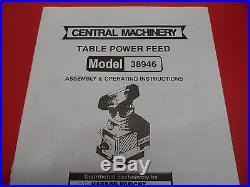 Machinist Milling Tool Central Machinery Milling Table Power Feed, #38946