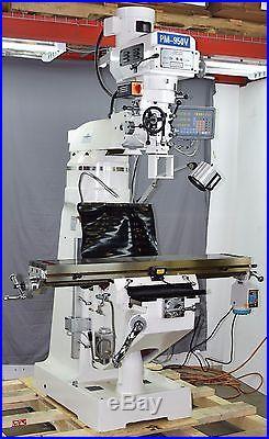 NEW PM-950V 9x50 VERTICAL KNEE MILL MILLING MACHINE 3 AX DRO, X PWR FD, 3PHASE