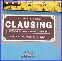 NEW REPRODUCTION CLAUSING MILLING MACHINE TAG ATLAS CRAFTSMAN SOUTH BEND