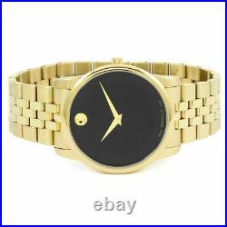 New MOVADO 0606997 Black Dial Gold PVD Museum Classic Swiss Quartz Men's Watch