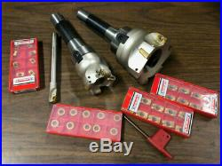 New Shell Mill Face Mill R8 Arbors Cutter Lot With 40 Inserts Milling cnc