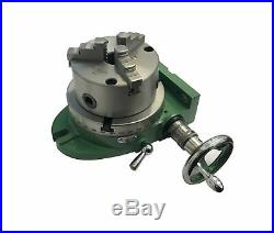 Rdgtools New 150mm / 6 Rotary Table Green With 3 Jaw 125mm Lathe Chuck