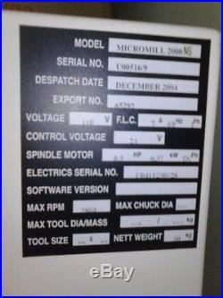 Scantek 2000 cnc milling machine