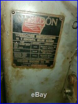 Sheldon No. 0 Horizontal Milling Machine 3 Phase VERY UNUSUAL SETUP
